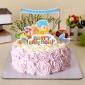 卡通�和�周�q生日蛋糕插牌�杯蛋糕�b�插旗插片 9件套可定制
